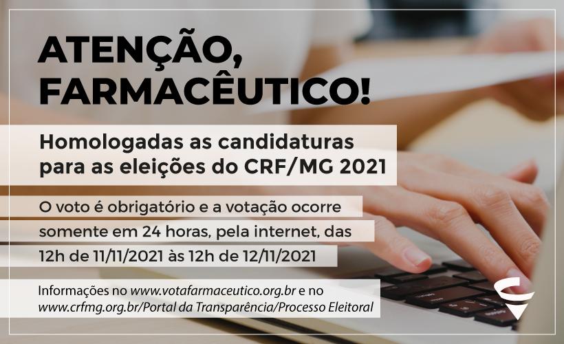 Homologadas as candidaturas para as eleições do CRF/MG 2021